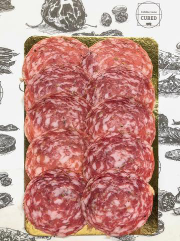 sliced Salami cured meat